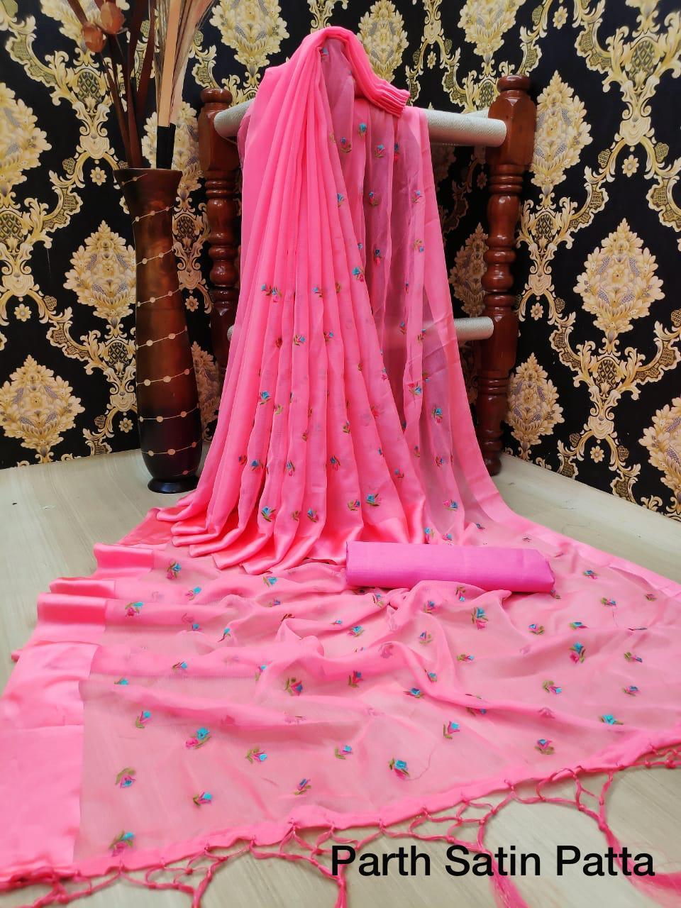 Thankar Designer Chiffon Satin Embroidered  saree  Catalog at Wholesale rate