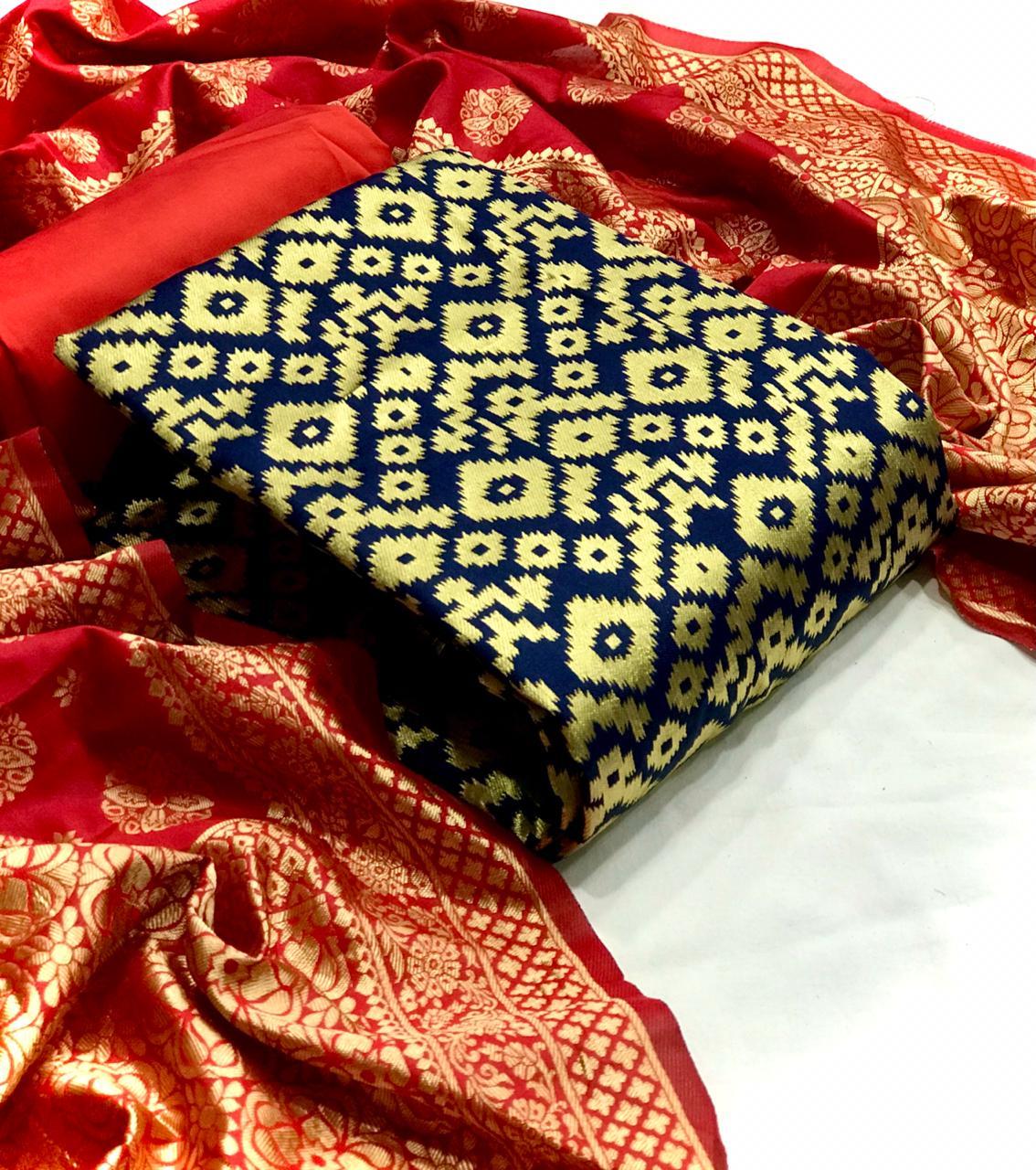 VT Banarsi Silk Ikkat Suit Banarasi Silk Designer Dress Material Catalog at Wholesale rate