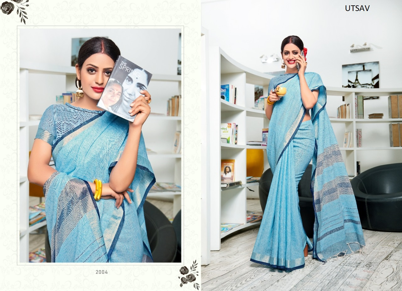 Thankar Utsav Designer soft linen Festive Wear  silk saree Catalog at Wholesale rate
