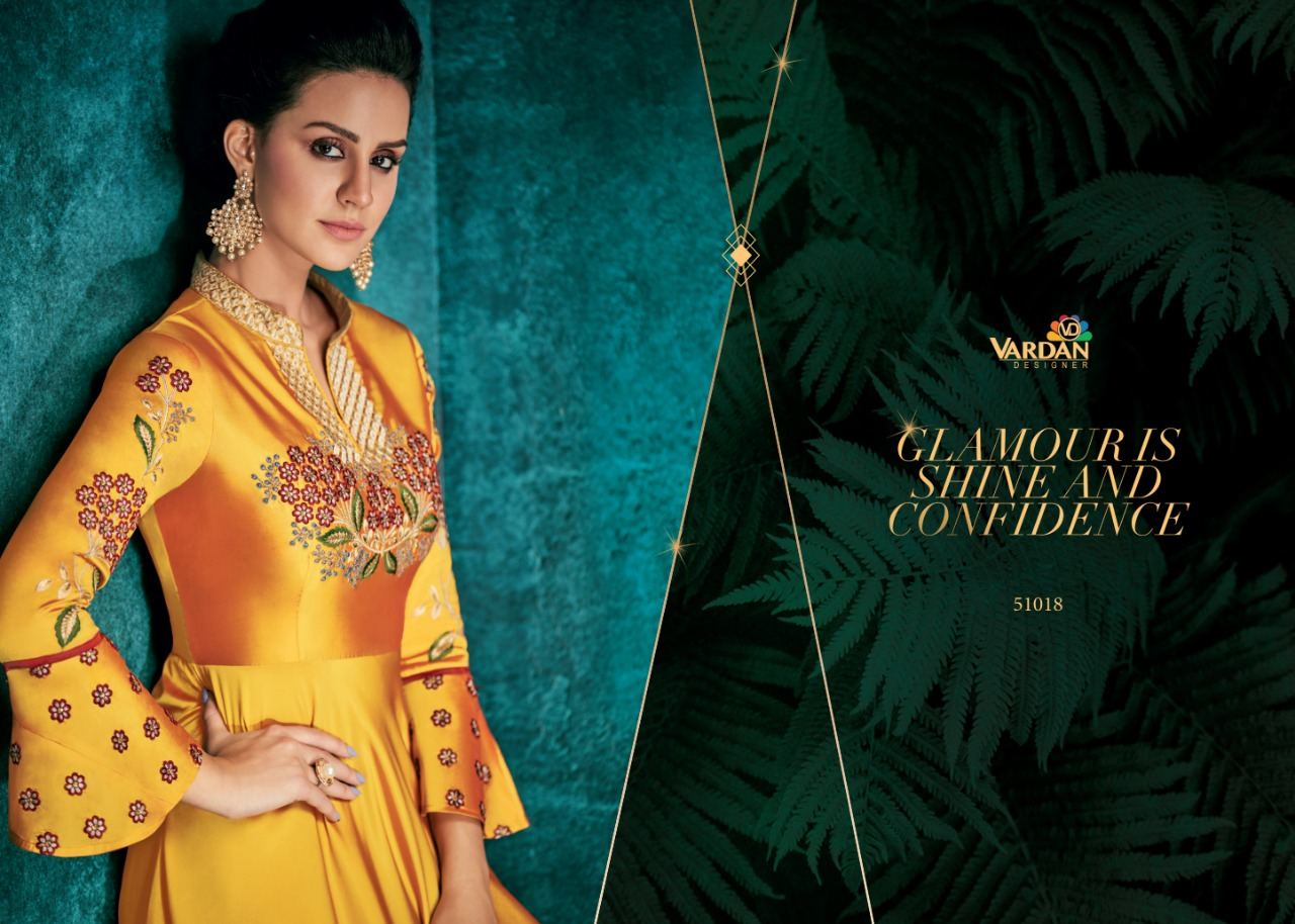 Vardan Designer Rozi Vol-1 Beautiful Triva Silk With Heavy Embroidery Anarkali Kurti Catalog at Wholesale rate