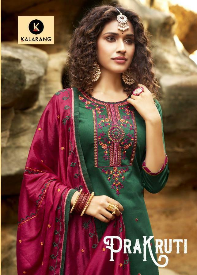 Kalarang Prakruti Designer Pure Jam Silk Cotton Patiala Suit  Catalog at Wholesale rate