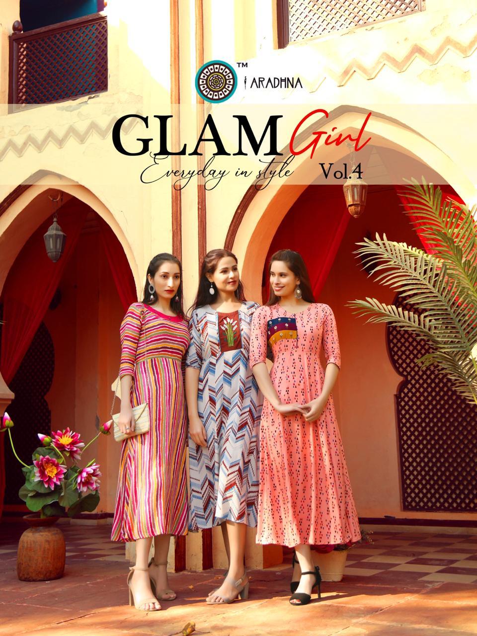 Aradhna Glam Girl Vol 4 Beautiful  Rayon  Embroidered & Handwork Kurti Catalog at Wholesale rate