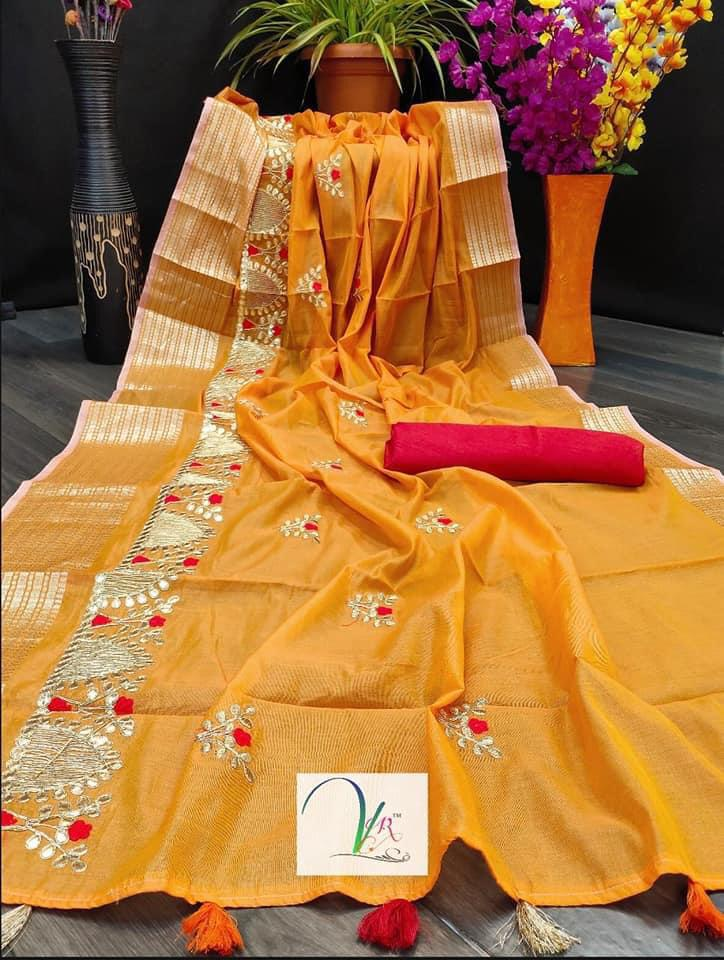 VR Beautiful   Chanderi Cotton Gota Patti work Saree Catalog at Wholesale rate