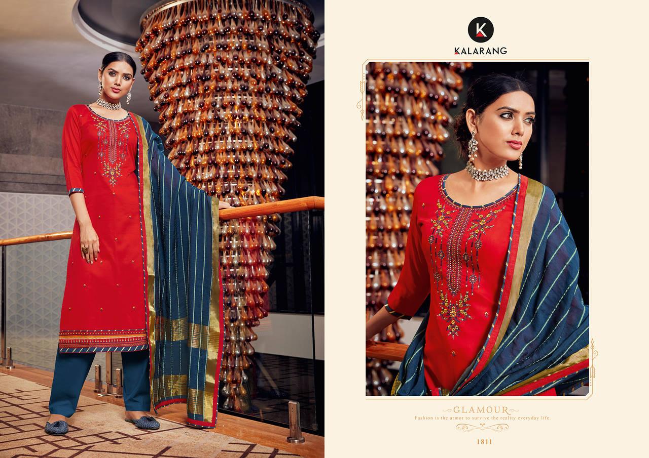 Kalarang Jasmin Vol 10 Beautiful  Pure Jam Silk Cotton Embroidered  Salwar Suit Catalog at Wholesale rate