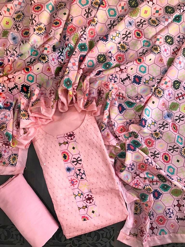 SSM GKC Designer Chanderi Printed Dress Material Catalog at Wholesale rate