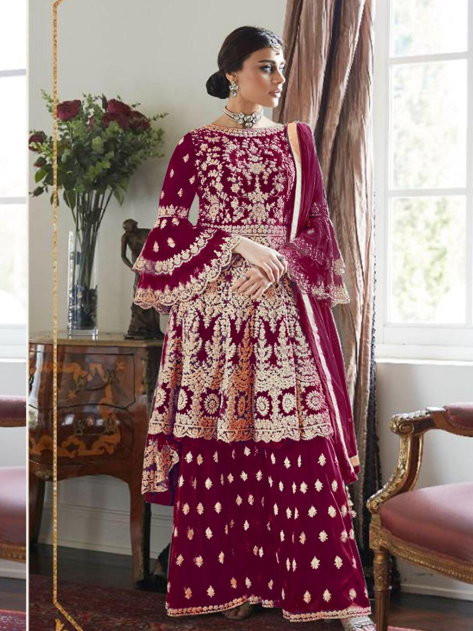 AS:-007024 Designer Butterfly Net With Embroidered Wedding Salwar Suit Catalog at Wholesale rate