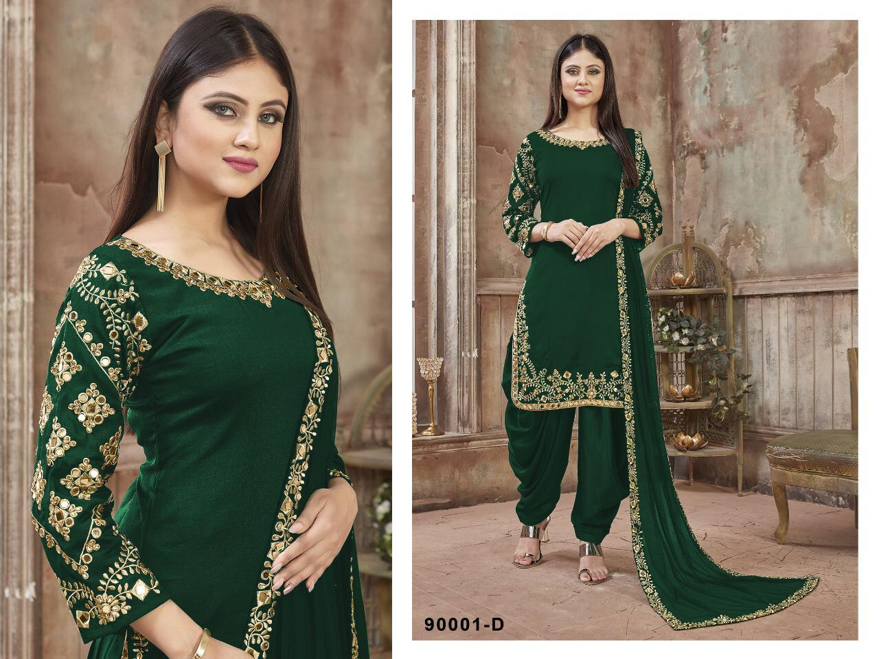 Twisha Patiyala Design No. 90001 Beautiful Heavy Faux Georgette With Embroidery Patiala Suit Catalog at Wholesale rate
