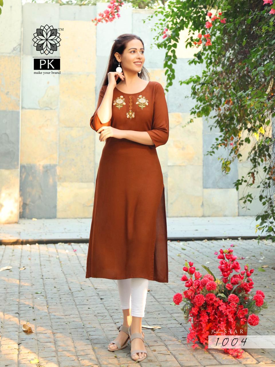 PK Fashion Star Vol 1 Beautiful Heavy Rayon Embroidered Kurti  Catalog at Wholesale rate
