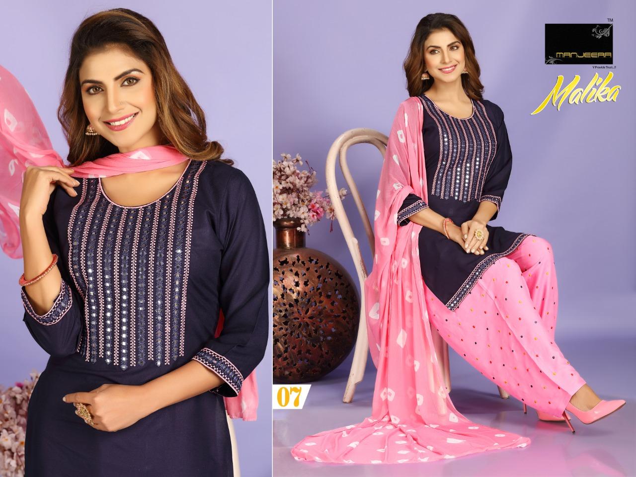 Manjeera Mlika Designer Rayon Casual Wear Patiala Suit Catalog at Wholesale rate