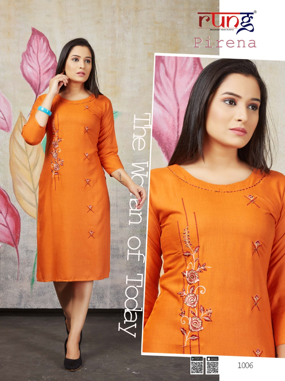 Rung Pirena Beautiful Liquid Rayon Handwork Kurti Catalog at Wholesale rate