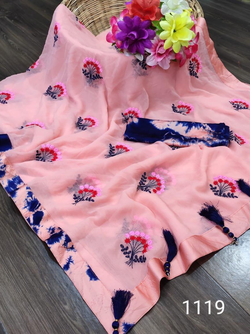 Thankar Designer Satin Embroidered & Handwork Saree Wholesaler in surat