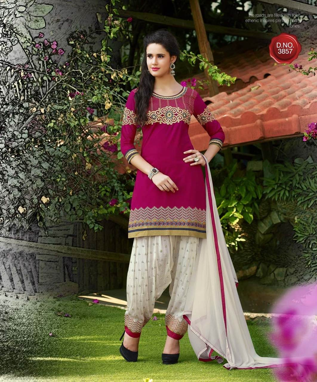 Kvs Pind Of Patiala Designer Cotton Satin with Embroidery Work Salwar Suit Catalog at Wholesale rate