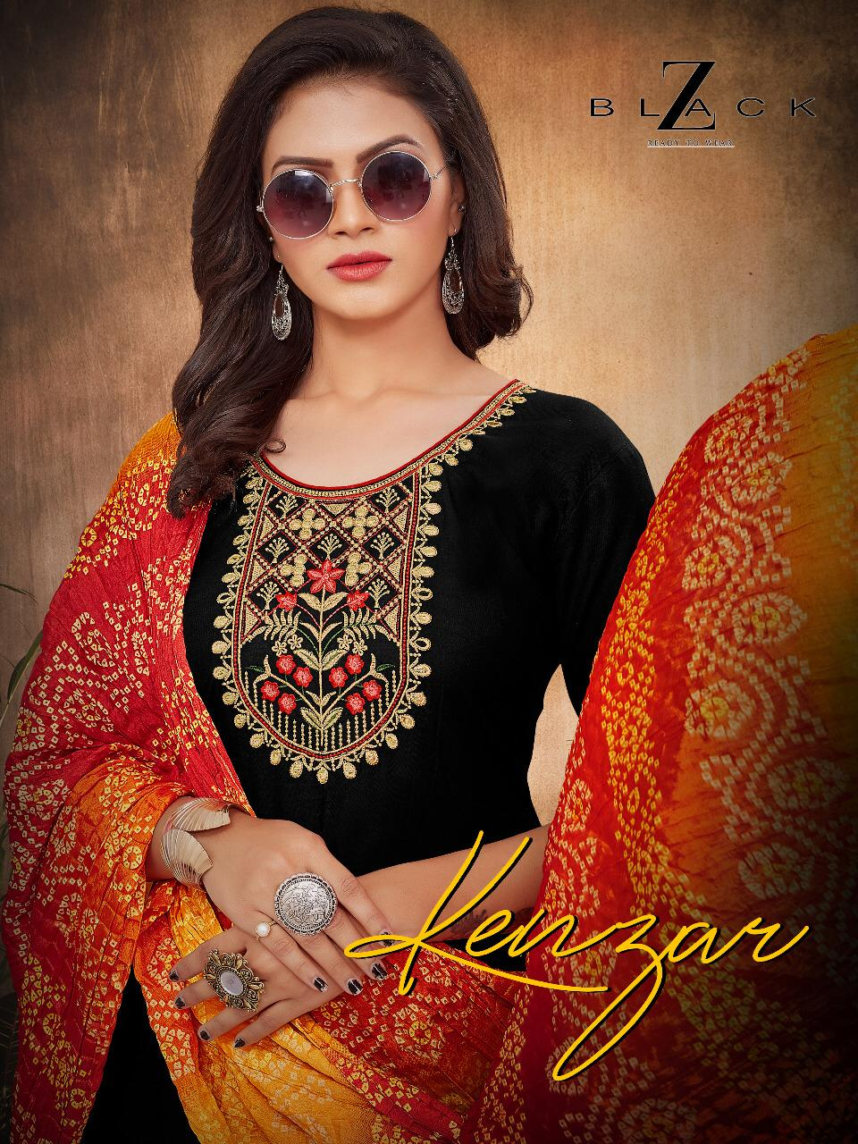 Z-Black  Kenzar Designer Rayon Embroidered Patiala Suit Catalog at Wholesale rate