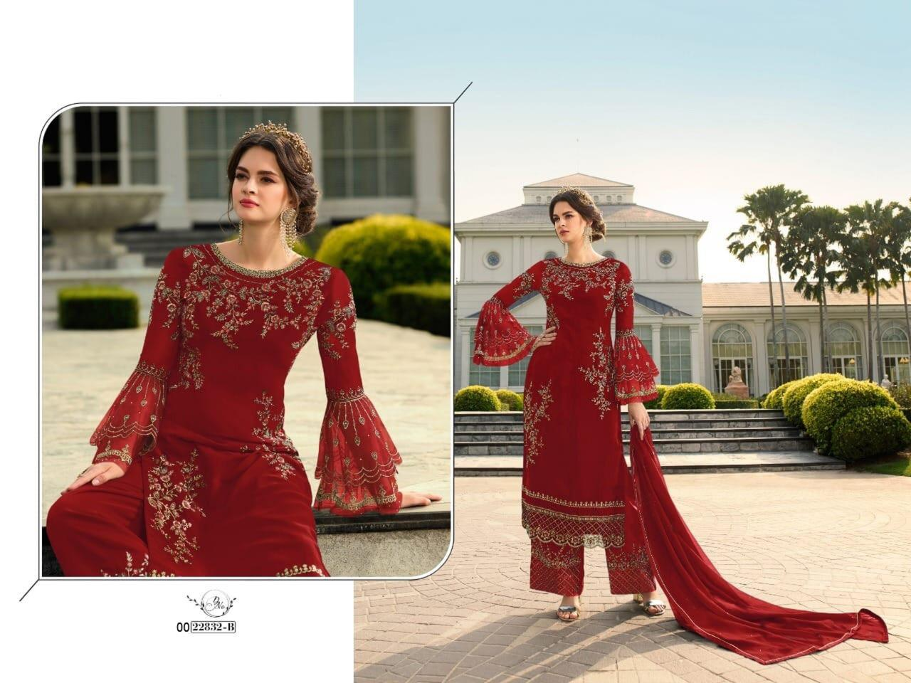 Thankar F:-0022832 Beautiful Georgette Embroidered Wedding suit  Catalog at Wholesale rate
