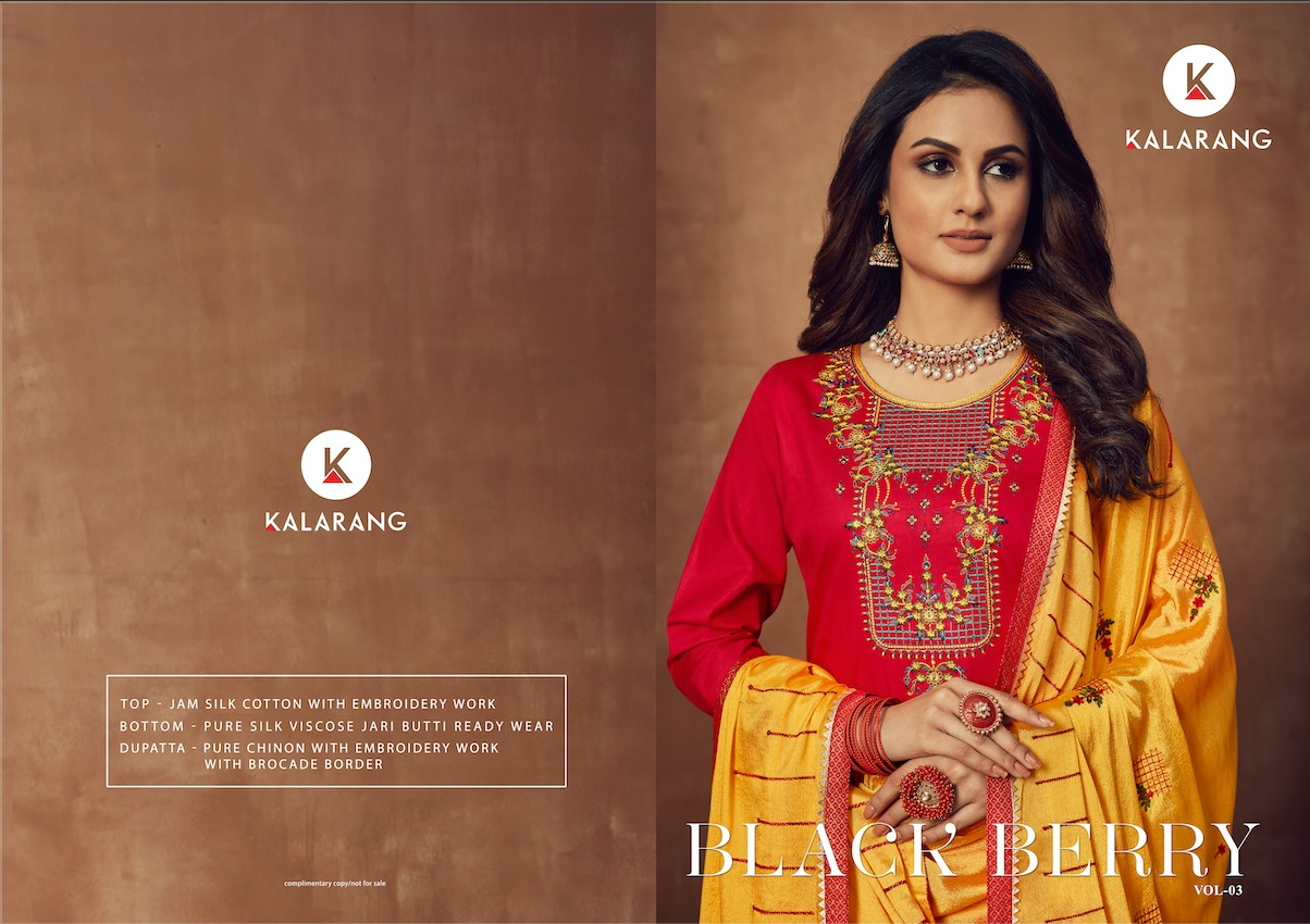 Kalarang Black Berry Vol 3 Designer Pure Jam Silk Cotton Embroidered  Wedding Salwar Suit Catalog at Wholesale rate