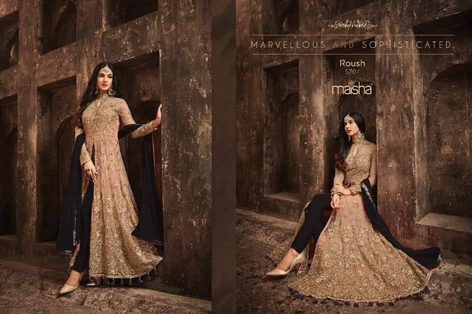Maisha 5704 Designer Heavy Net Embroidered & Stone Work Wedding Suit Catalog at Wholesale rate