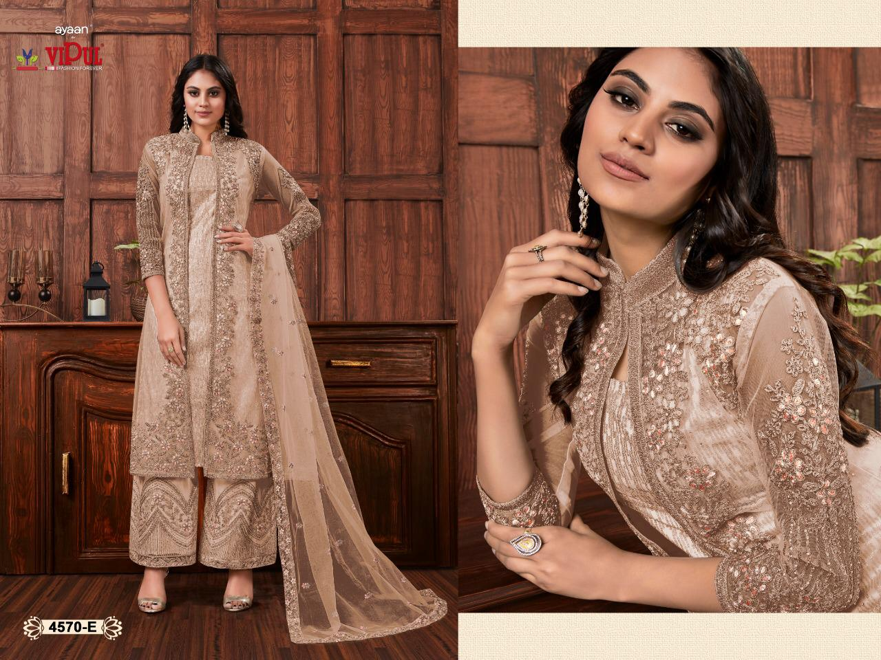 Vipul 4570 Beautiful Heavy Net Embroidered Salwar Suit Catalog at Wholesale rate
