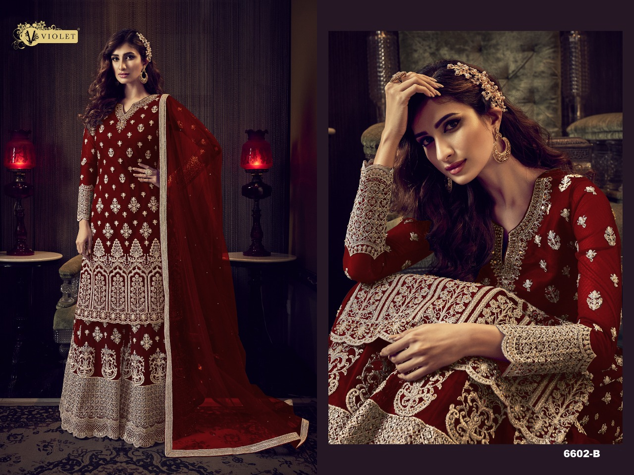 Swagat Violet 6602 Beautiful Heavy Net Embroidered & Cording Work Salwar Suit Catalog at Wholesale rate