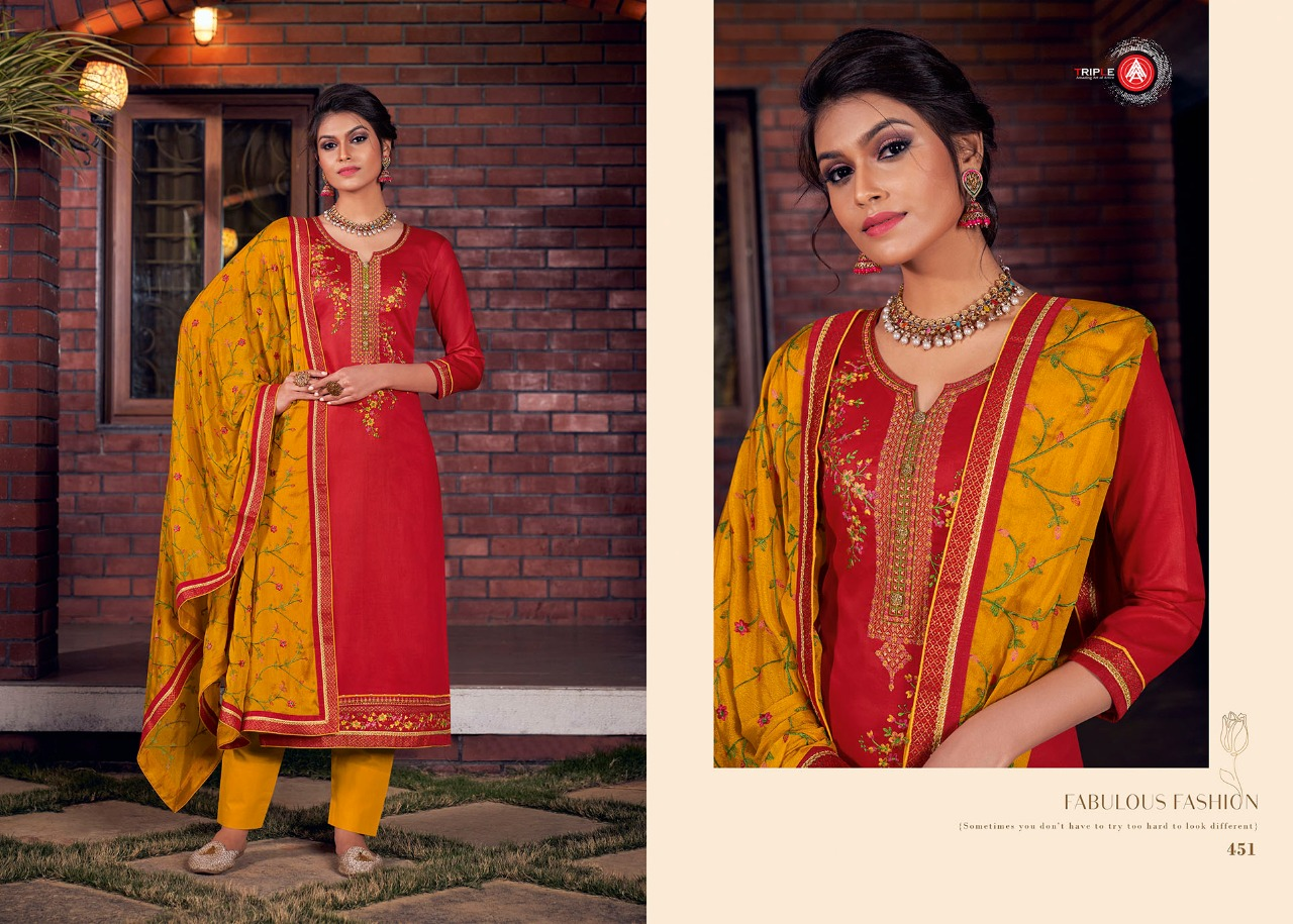 Triple Kangna Designer Jam Silk With Embroidered Salwar Suit Catalog at Wholesale rate