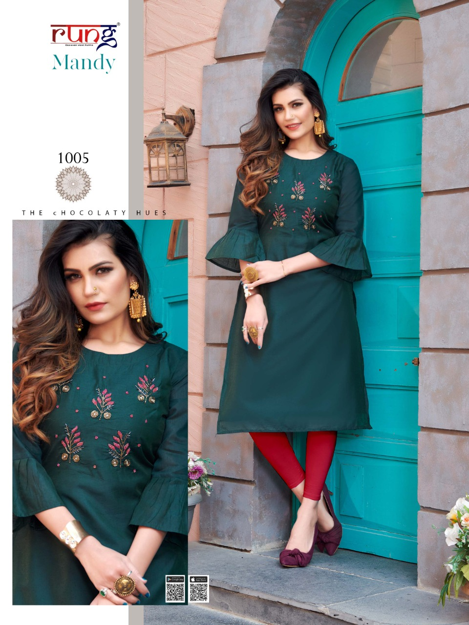 Rung Mandy Beautiful Heavy Modar Silk Handwork  Kurti Catalog at Wholesale rate