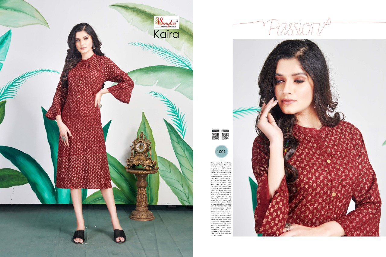 Smylee Kiara Designer Rayon Print & Handwork Kurti Catalog at Wholesale rate