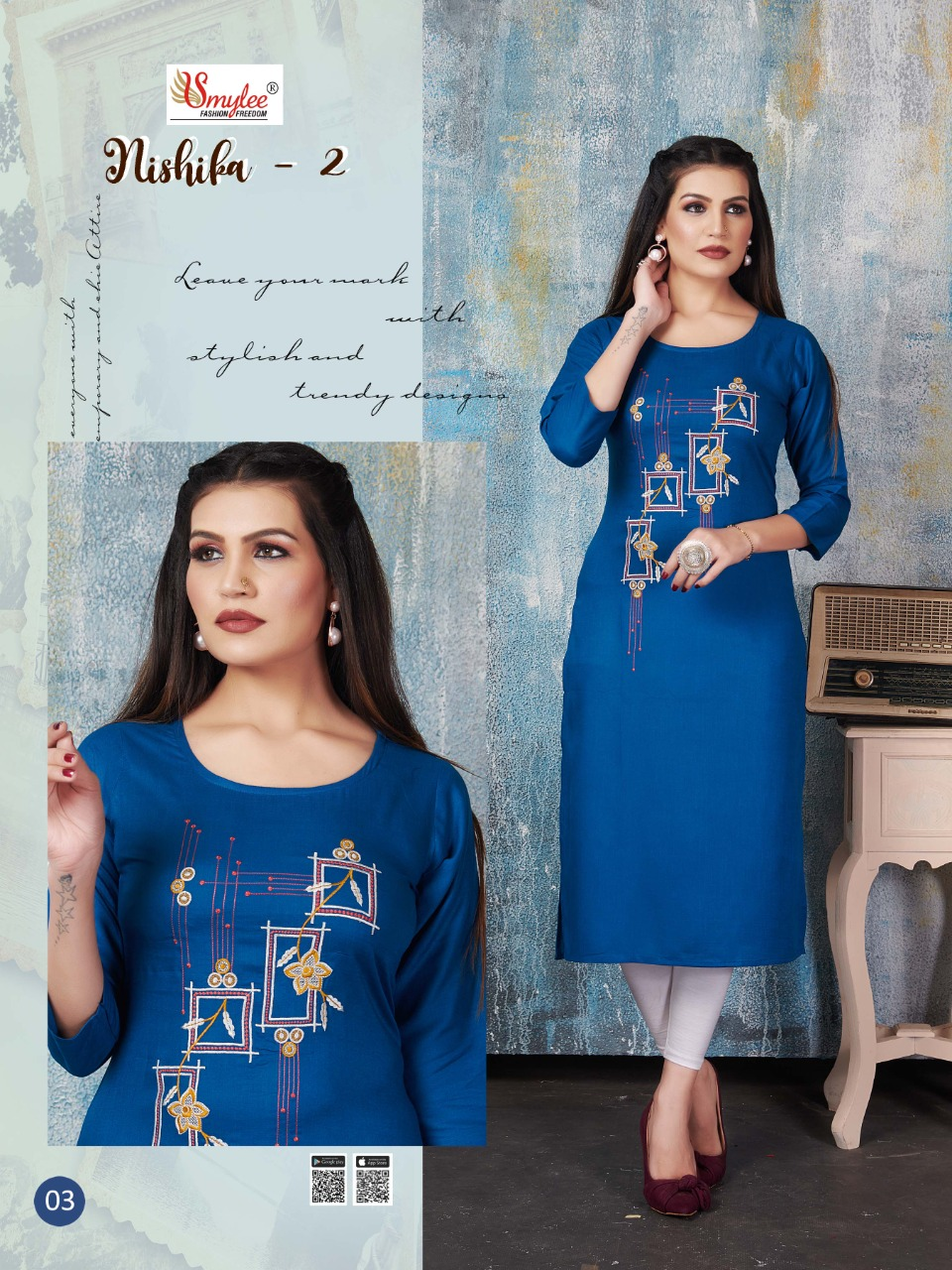 Smylee Nishika Vol 2 Designer Rayon Print & Handwork Kurti Catalog at Wholesale rate