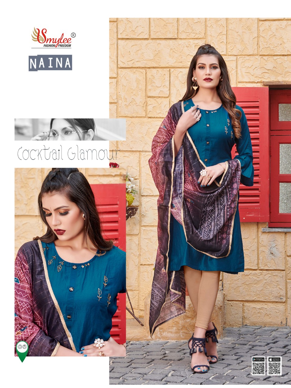 Smylee Naina Designer Heavy Silk Embroidered & Handwork  Kurti with Dupatta Catalog at Wholesale rate