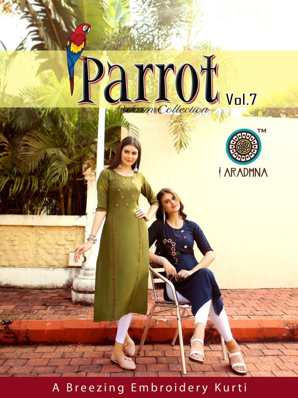 Aradhna Parrot Vol 7  Designer Rayon  Embroidered  Kurti Wholesaler In Surat