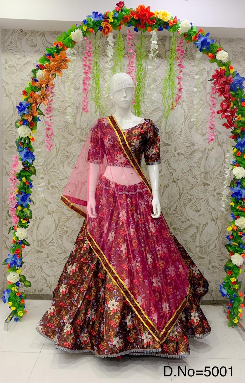 Peafowl design no-5001 Designer Satin Jari Handwork & Digital Print Lehenga Choli Catalog at Wholesale rate