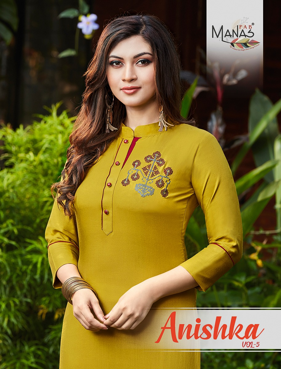 Manas Fab Anishka Vol 5 Designer Rayon 14 kg Embroidered Kurti Catalog at Wholesale rate