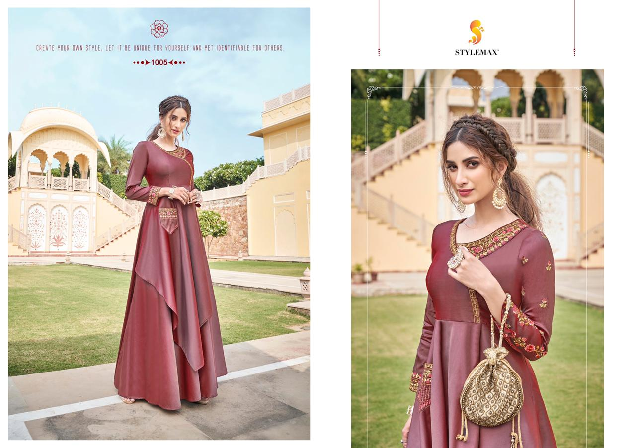 Stylemax™️  Almiraha vol -5  Designer Heavy Soft Silk Embroidered Kurti Catalog at Wholesale rate