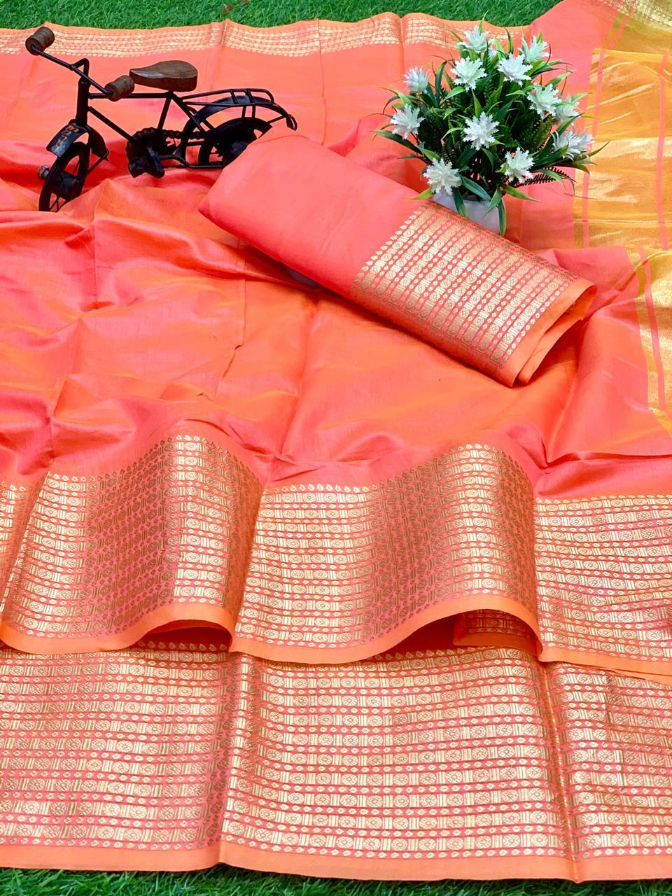 Thankar Designer  Cotton with Weaving Zari Border  saree Catalog at Wholesale rate
