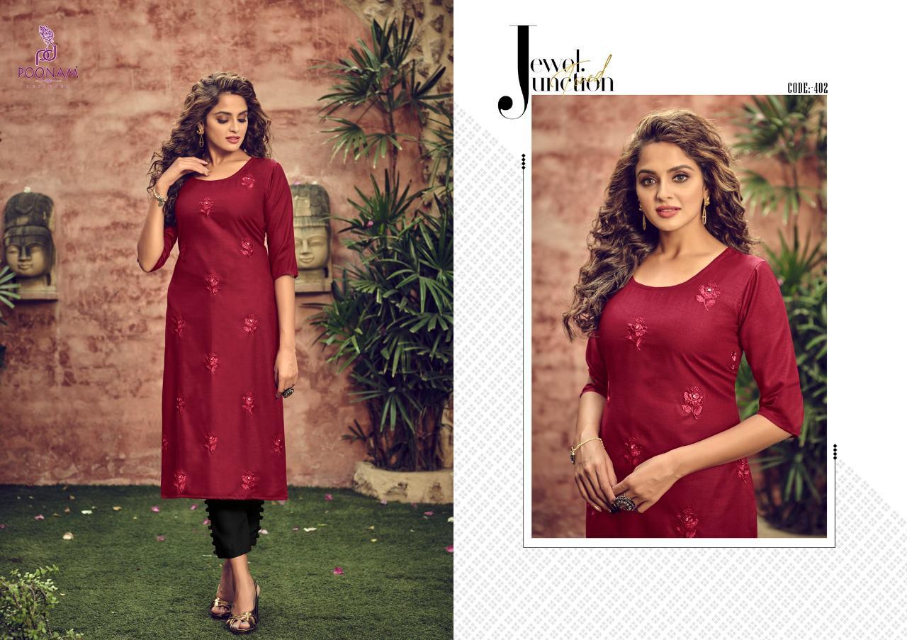 Poonam Designer Asiana  Vol-  4 Designer Cotton Slub Embroidered & Mirror Work Kurti Catalog at Wholesale rate