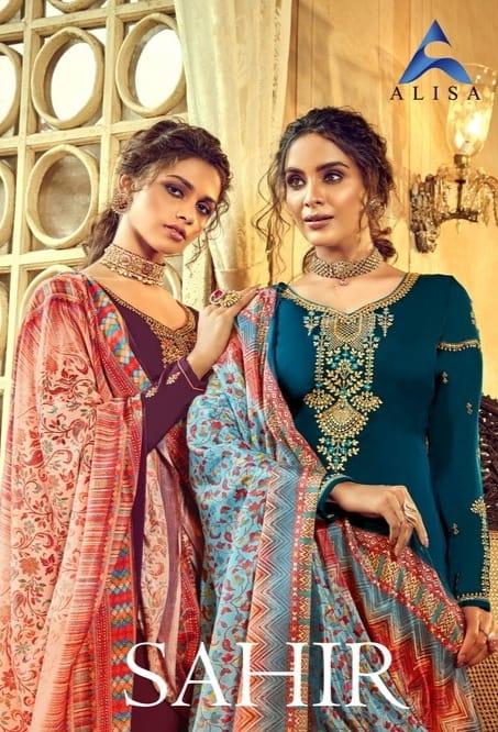 Alisa Sahir Designer Georgette Diamond Work Festive Wear Salwar Suit Catalog at Wholesale rate