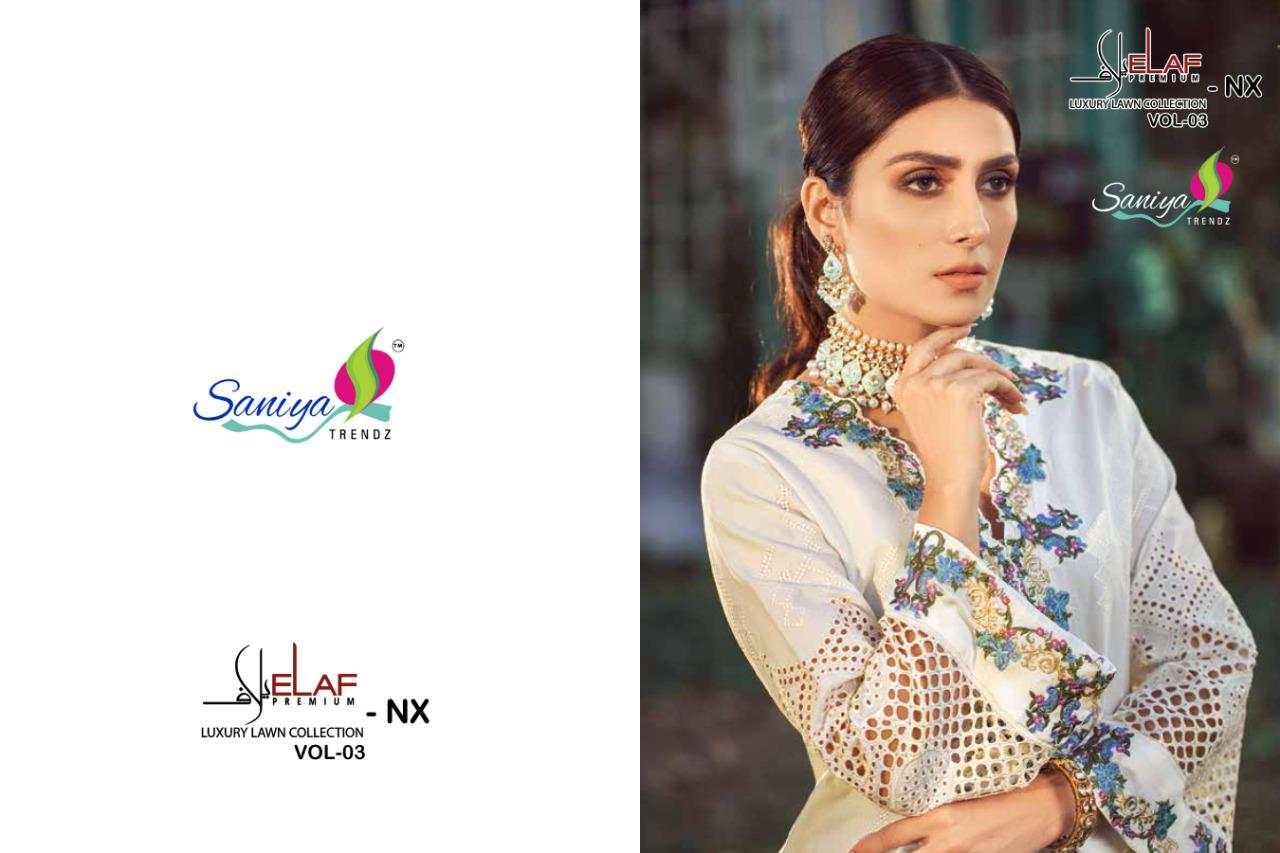Saniya Trendz Elaaf - III Designer Pure Cambric Cotton Embroidered Pakistani Suit Catalog at Wholesale rate