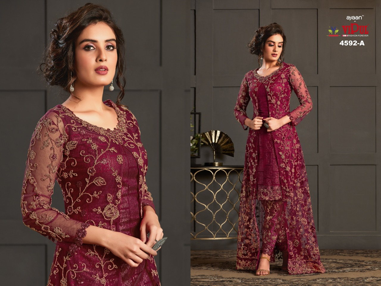 Ayaan Vipul 4592 Designer Heavy Net Embroidery & Cording Work Wedding Wear Suit Catalog at Wholesale rate
