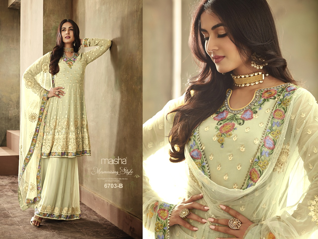Maisha 6703 Designer Heavy Faux Georgette Embroidery & Stone Work  Wedding Suit Catalog at Wholesale rate