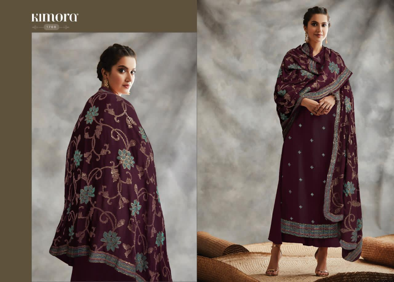 Kimora Fitoor Blooming Faux Georgette Embroidery Work Suit Catalog at Wholesale rate