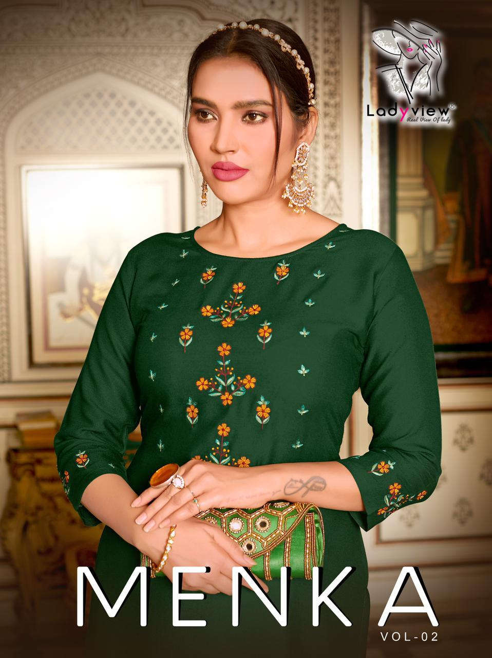 Ladyview Menka Vol 2  Designer 14kg Rayon Embroidery Work Kurti With Palazzo Catalog at Wholesale rate