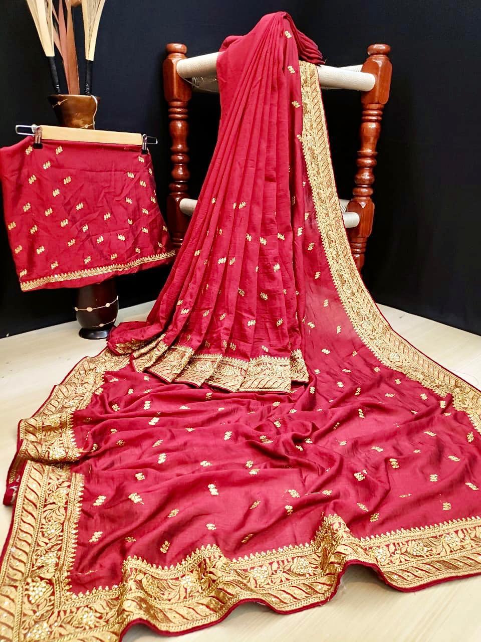 Thankar Lovely Designer Vichitra Silk Embroidered saree Catalog at Wholesale rate Thankar Lovely Designer Vichitra Silk Embroidered saree Catalog at Wholesale rate