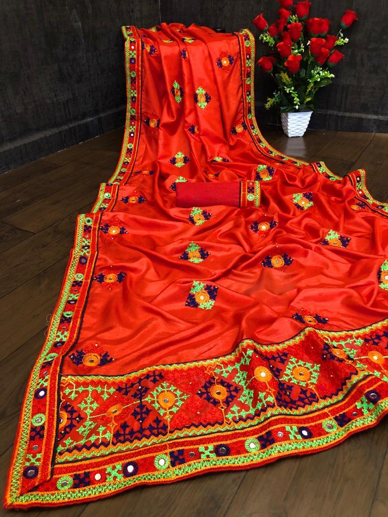 Thankar Aradhana Designer Vichitra Silk Embroidered & Thread Work  saree Catalog at Wholesale rate