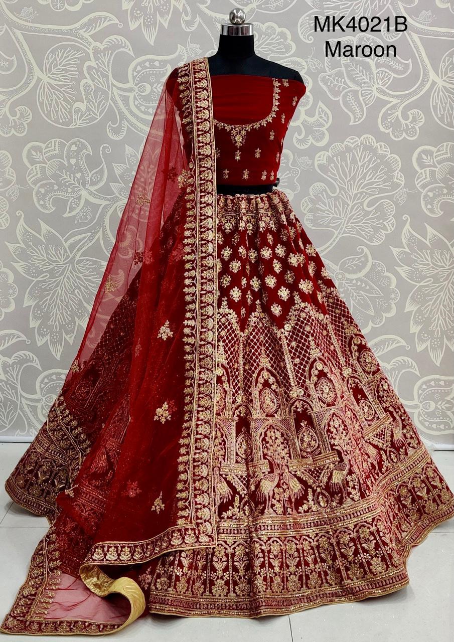 Thankar MK4021B Designer Velvet Bridal Lehenga choli  Catalog at Wholesale rate