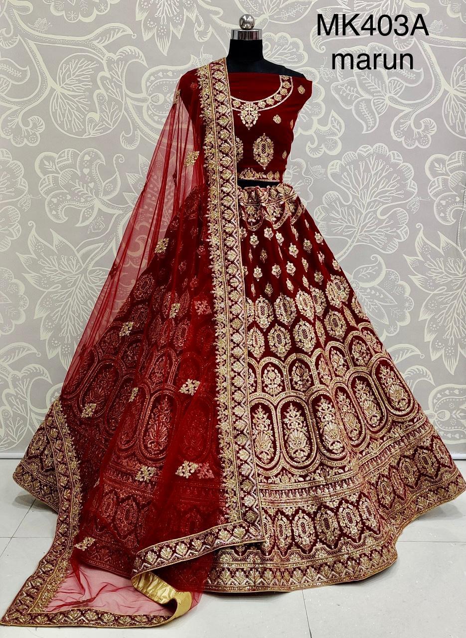 Thankar Beautiful Pure Velvet Embroidered Bridal Lehenga Choli Catalog at Wholesale rate