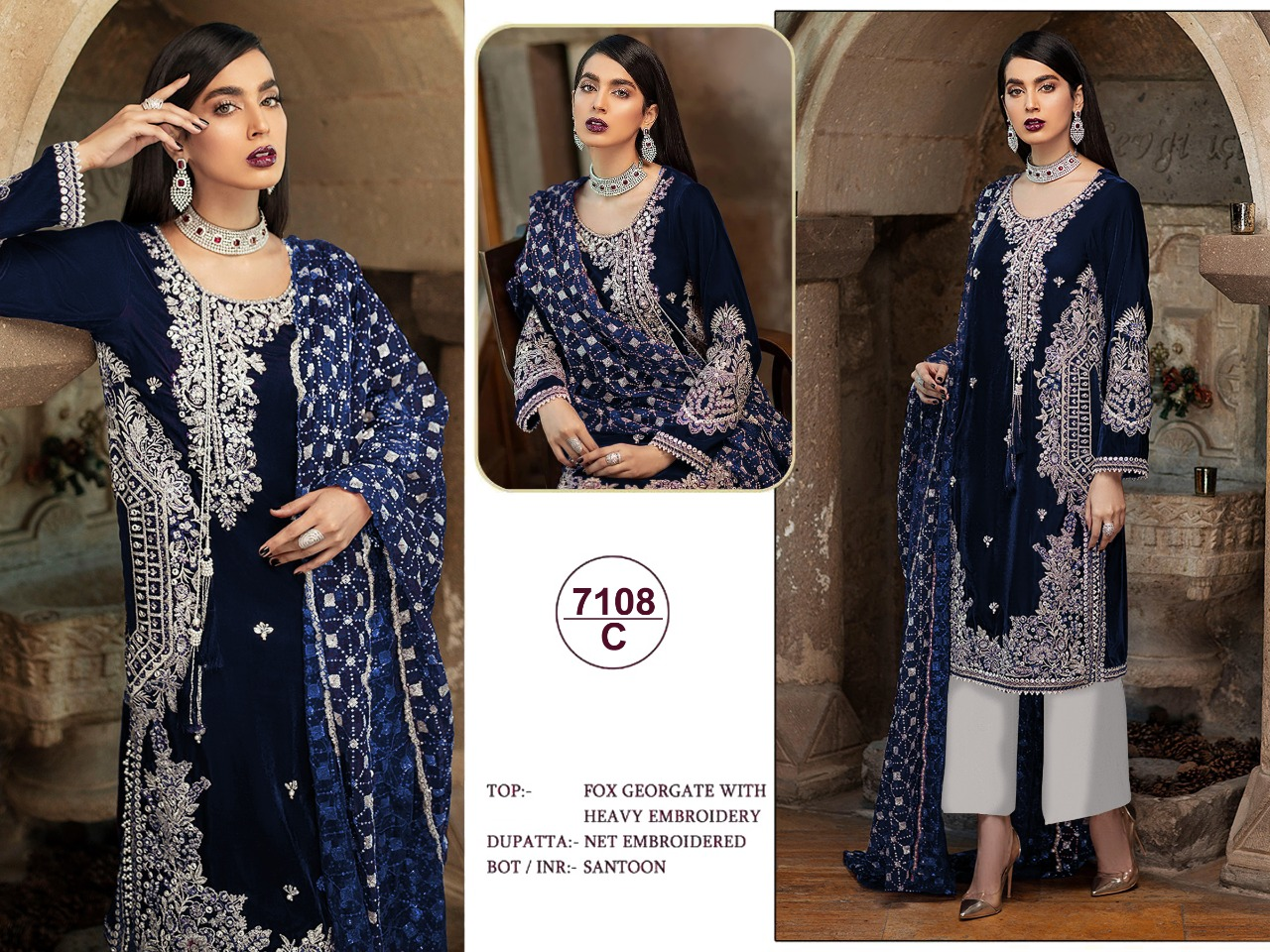Paki 7108 Designer Heavy Faux Georgette Embroidered Pakistani suit Catalog at Wholesale rate