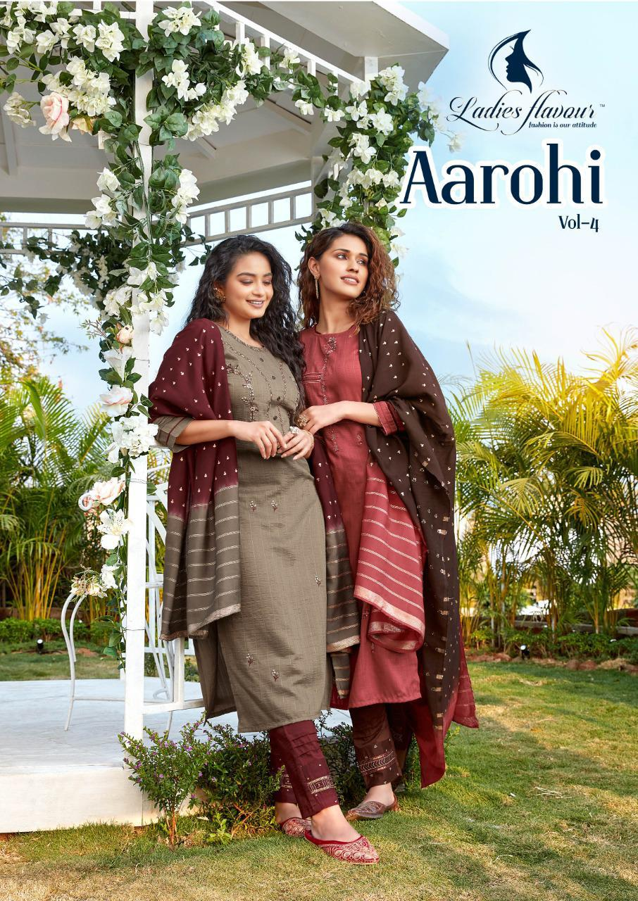 Ladies Flavour Aarohi Vol 4 Designer Chinon lining with Embroidery Work Kurti Catalog at Wholesale rate