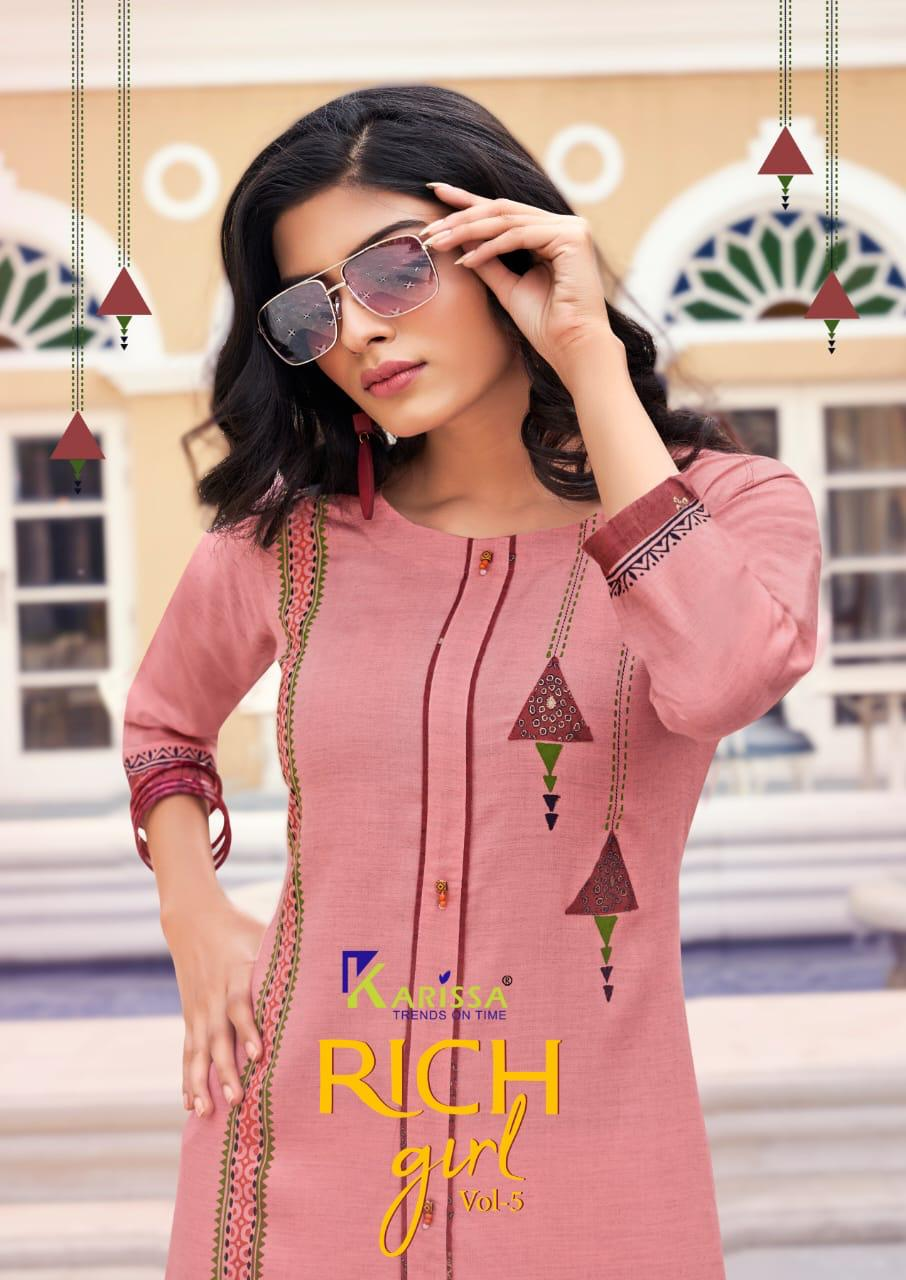 Karissa Rich Girl Vol 5  Designer Rayon Millange Foil Print Kurti Catalog at Wholesale rate