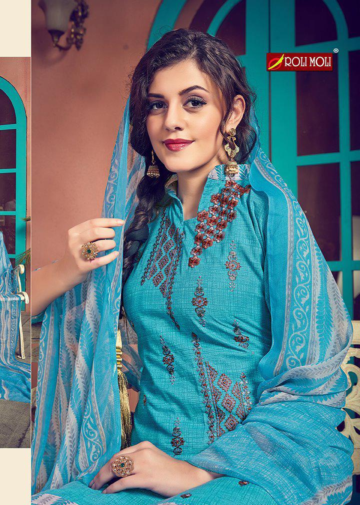 Roli Moli Creation Mehreen Designer PC Cotton Print Patiala Salwar Suit Catalog at Wholesale rate