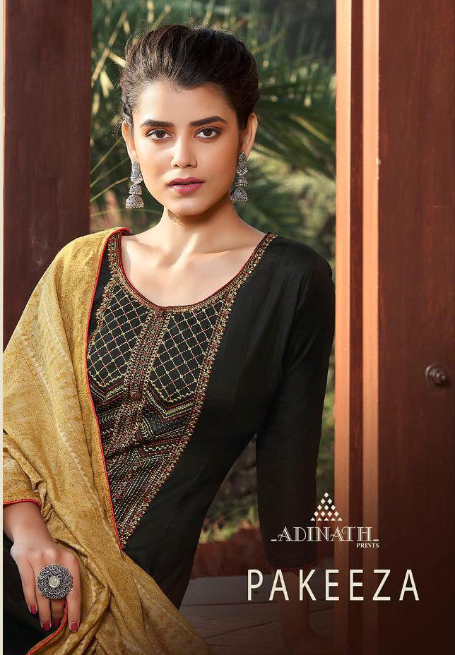 Adinath Print Pakeeza Beautiful Heavy Jam Cotton Print & Embroidered Salwar Suit Catalog at Wholesale rate