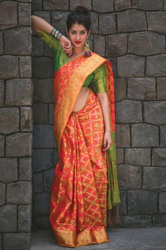 Manjubaa Clothing Banarasi Patola Beautiful Banarasi silk weaving Patola saree Catalog at Wholesale rate
