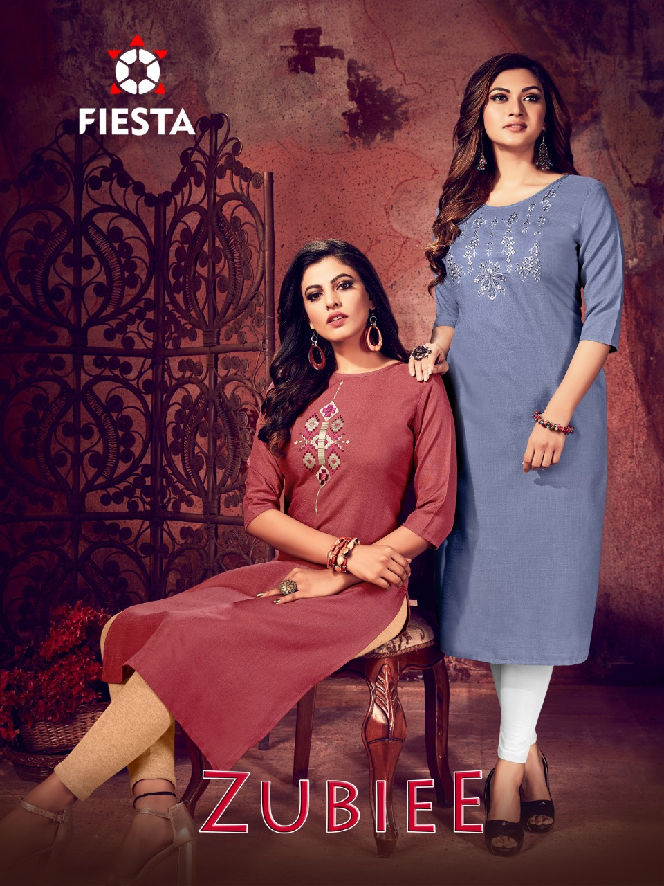 Fiesta Zubee Designer Soft Magic Slub Embroidered & Handwork  Kurti Catalog at Wholesale rate